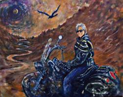 Original painting of biker with scenery changed.